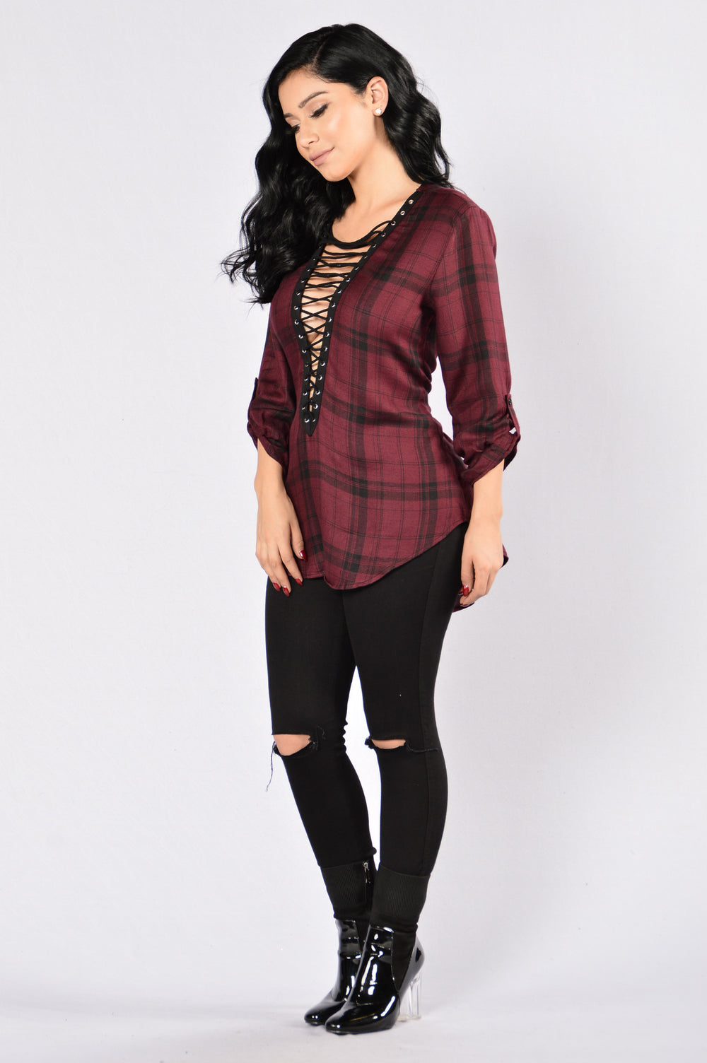 Cozy Nights Top - Burgundy