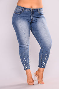 Private Jet High Rise Jeans - Medium Blue Wash