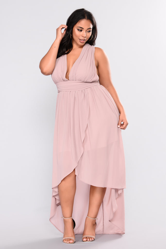 Charm High Low Dress Taupe