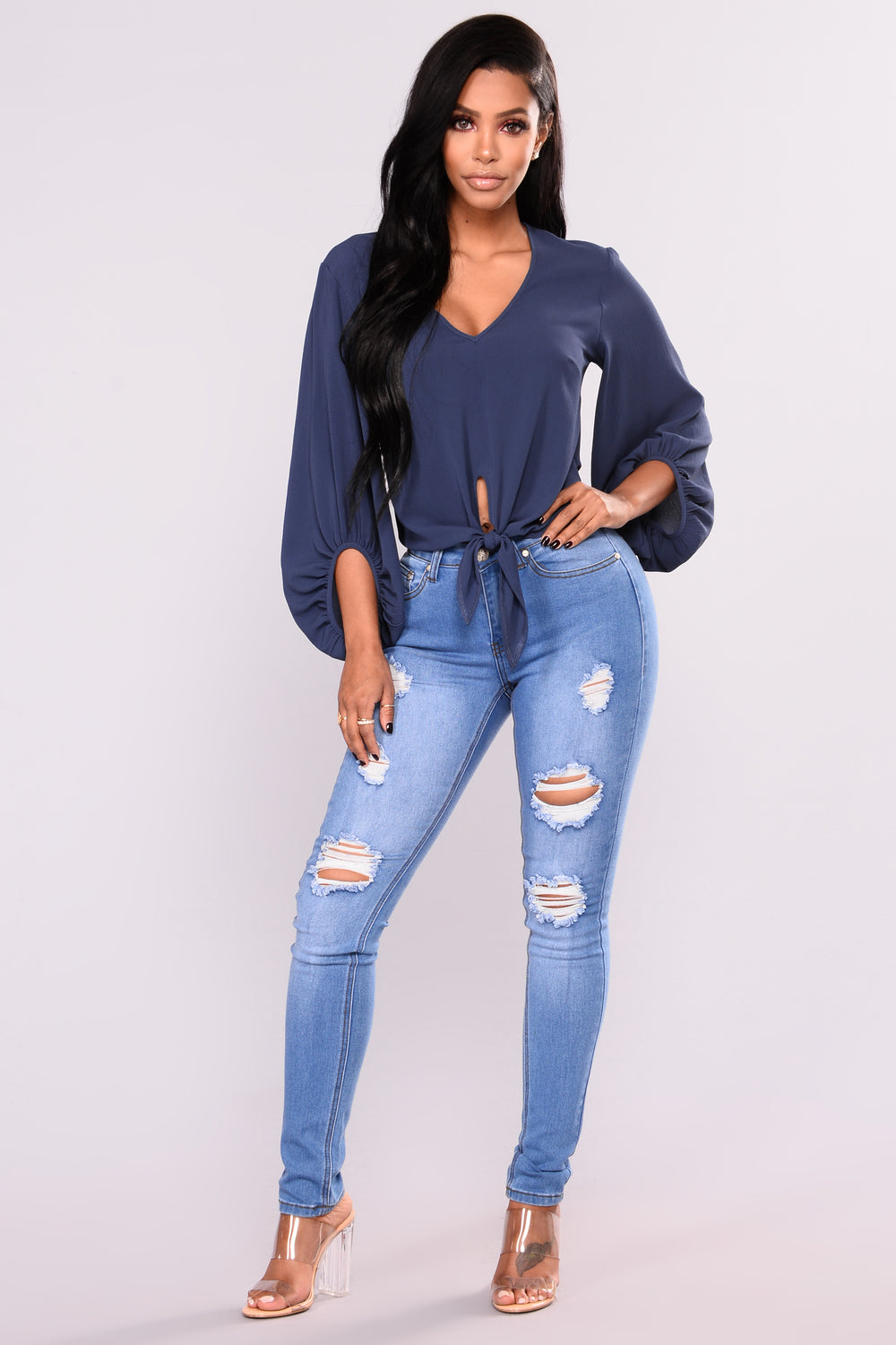 Macey V Neck Top - Indigo