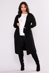 Tahlia Hooded Cardigan - Black Angle 8