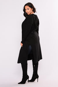 Tahlia Hooded Cardigan - Black Angle 12
