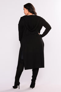 Tahlia Hooded Cardigan - Black Angle 11