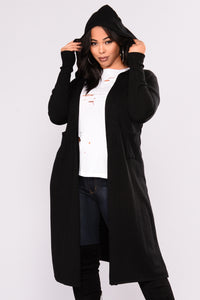Tahlia Hooded Cardigan - Black Angle 9