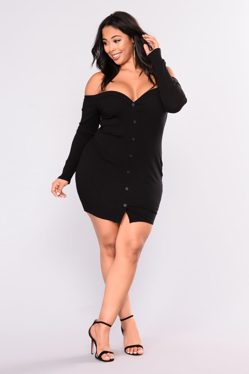 Make It Count Ribbed Dress - Black