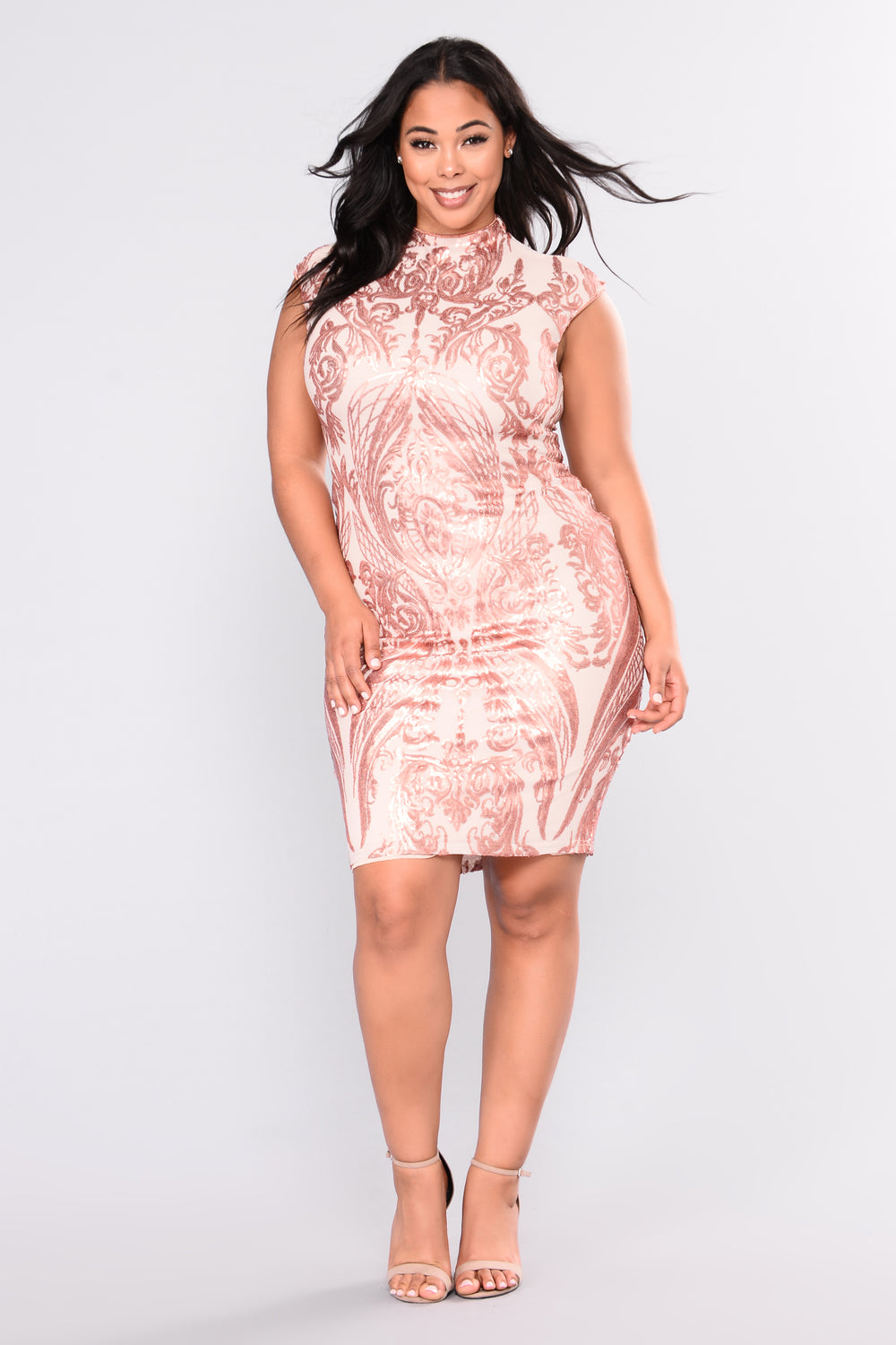 First Class Sequin Dress Rose Gold