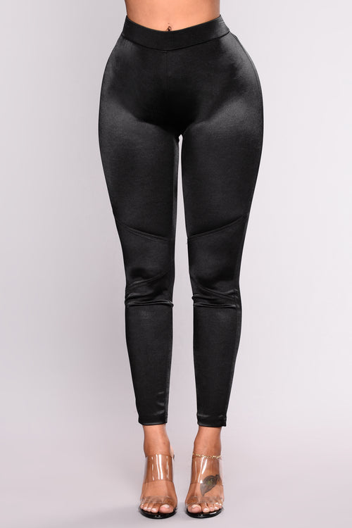 Paola Stretch Satin Pants - Black