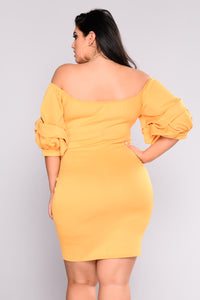 Royalty Ruched Dress - Mustard