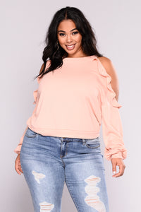 Caralina Cold Shoulder Sweater - Blush