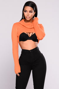 Sammie Crop Turtle Neck Sweater - Rust