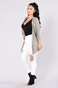 Turnt Down Cardigan - Heather Grey