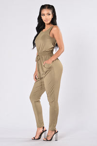 Hugs & Kisses Jumpsuit - Olive