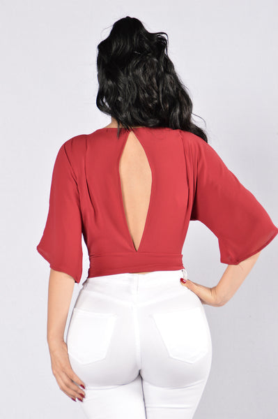 Wrap Me Close Top - Wine