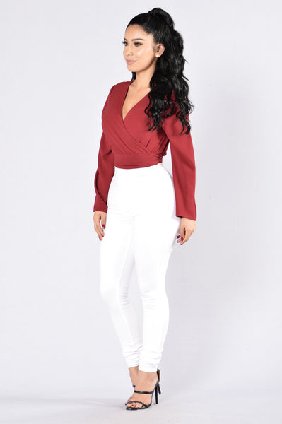 Get Busy Top - Burgundy