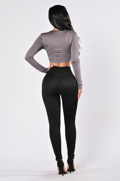 Zipper Fleece Legging - Black