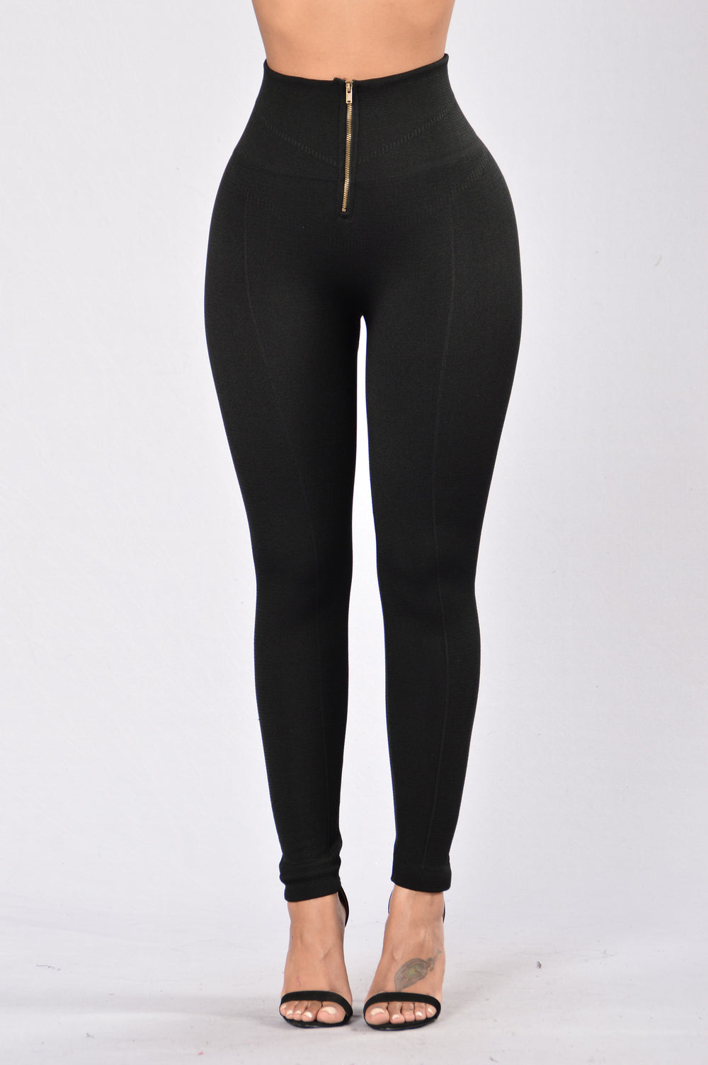 Zipper Fleece Leggings - Black