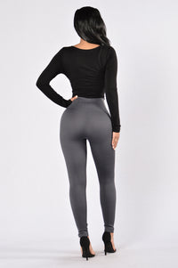 Zipper Fleece Leggings - Charcoal