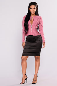 Wildrose Bandage Crop Jacket - Marsala
