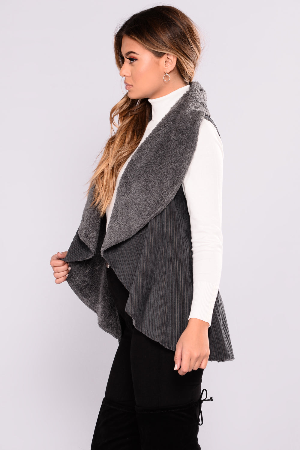 What The Suede Vest - Charcoal