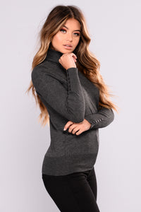 Elina Sweater Top - Charcoal Grey