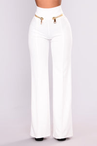 Over Sized Zipper Pants - White