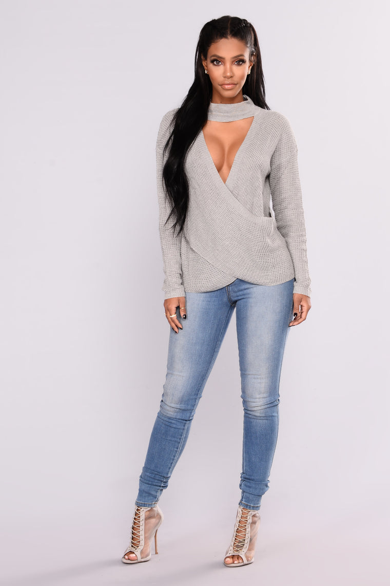 Farrah Wrap Front Sweater - Charcoal