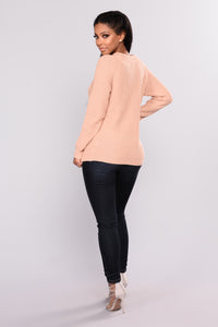 Lace Up Twist Sweater - Blush
