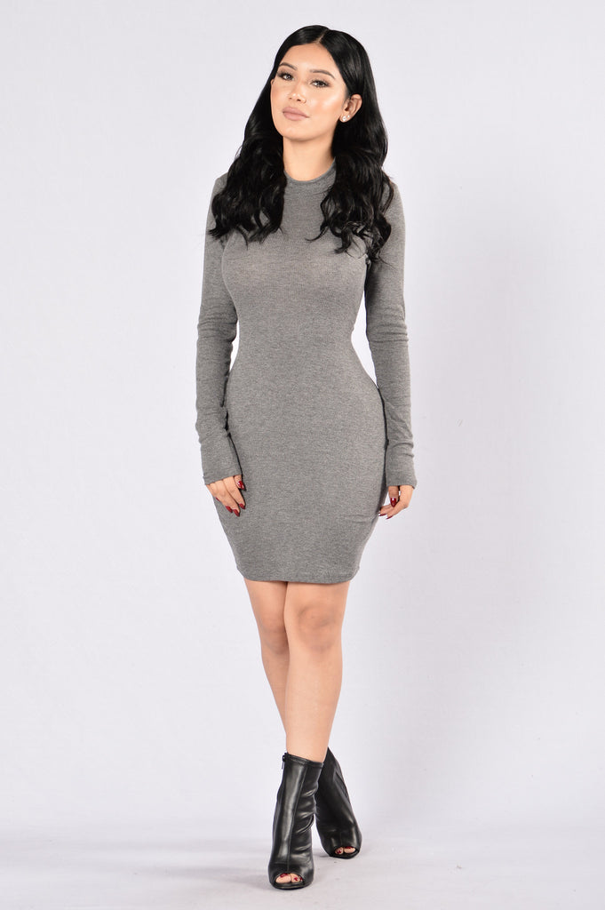 Hollaback Girl Dress - Heather Charcoal
