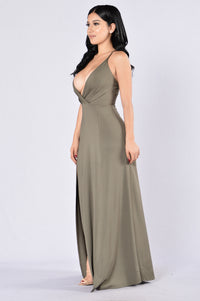 Lights Go Down Dress - Olive