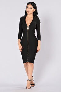 Unzip Me Bandage Dress - Black
