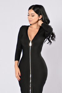 Unzip Me Bandage Dress - Black Angle 2