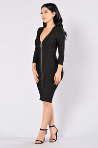 Unzip Me Bandage Dress - Black Angle 6