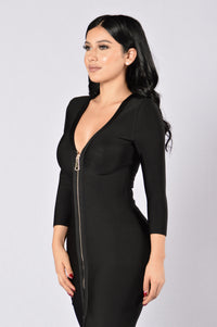 Unzip Me Bandage Dress - Black Angle 4