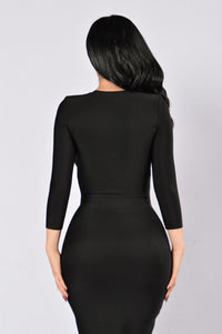 Unzip Me Bandage Dress - Black Angle 3