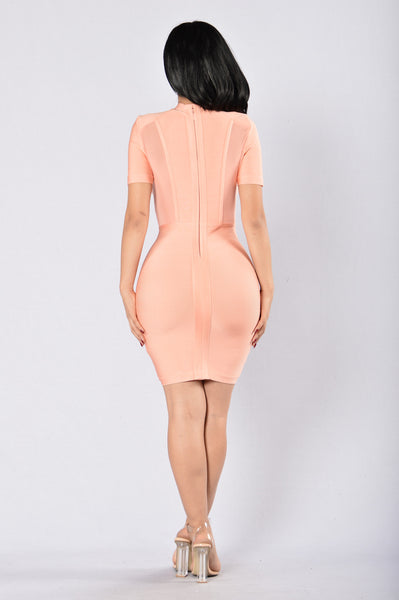 Luster Bandage Dress - Peach