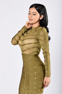 Perfect Kiss Bandage Dress - Olive