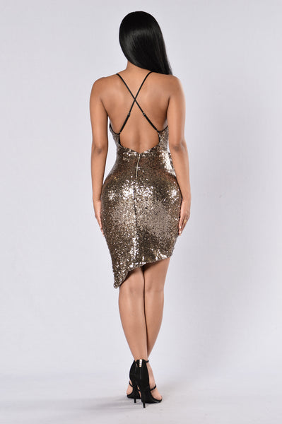 Sequin Weekend Dress - Gold