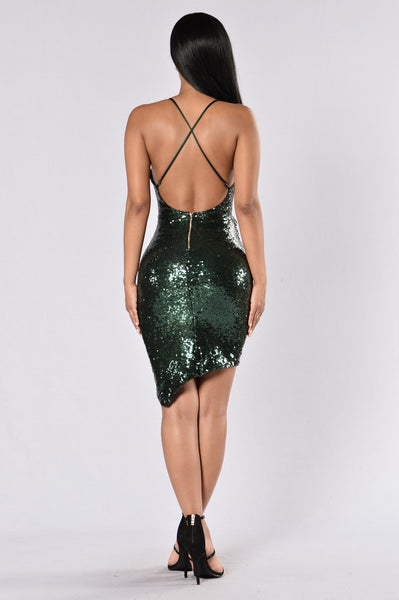 Sequin Weekend Dress - Hunter