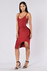 Seductive Bandage Dress - Wine Angle 1