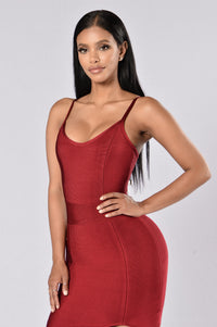 Seductive Bandage Dress - Wine Angle 2