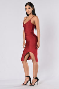 Seductive Bandage Dress - Wine Angle 6
