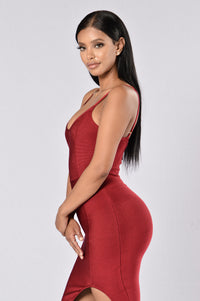 Seductive Bandage Dress - Wine Angle 4
