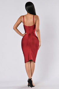 Seductive Bandage Dress - Wine Angle 5