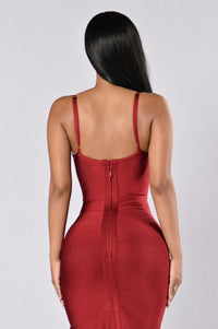 Seductive Bandage Dress - Wine Angle 3