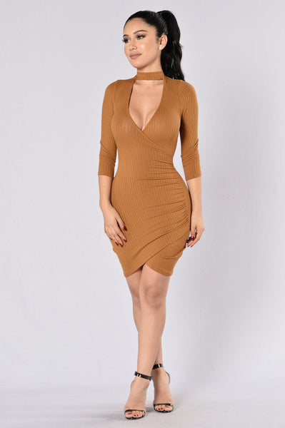 Double Tap Wrap Dress - Camel