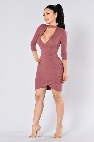 Double Tap Wrap Dress - Marsala