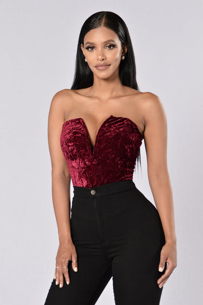 Holding Onto You Bodysuit - Burgundy