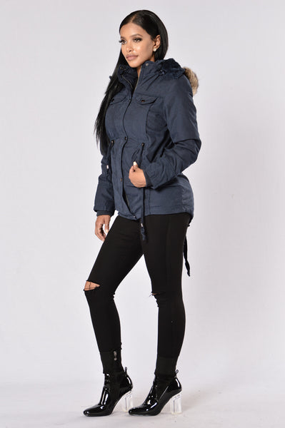 Warm With You Jacket - Navy