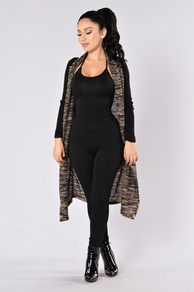 Not Too Sure Cardigan - Black/Brown