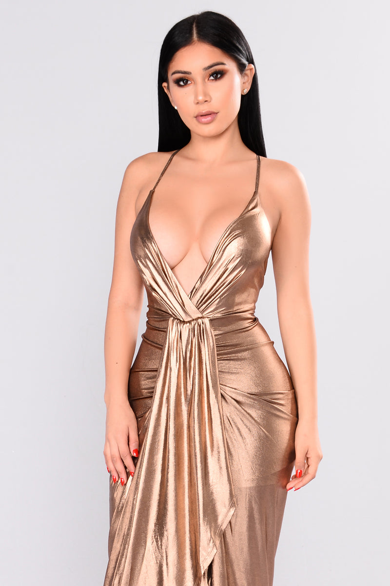 Pull Me Closer Dress - Bronze